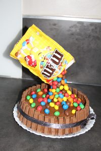 gravity cake m&m's kit kat
