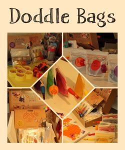 doodle bags shopping presse party