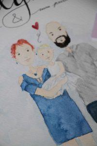 cadeau original baptême illustration personnalisée par Gaëlle Stratakos